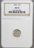 Three Cent Silver: , 1862 3CS AU55 NGC. NGC Census: (7/913). PCGS Population (31/904).Mintage: 343,000. Numismedia Wsl. Price for NGC/PCGS coin...