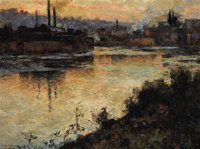 AARON HARRY GORSON (American, 1872-1933) Pittsburgh Steel Mills at Sunset Oil on canvas 30 x 40 i