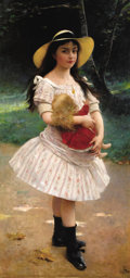 Fine Art - Painting, European:Antique  (Pre 1900), LIONEL NÖEL ROYER (French, 1852-1926). Young Girl with Doll,1889. Oil on canvas. 59-1/4 x 28-3/4 inches (150.5 x 73.0 c...