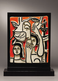 FERNAND LÉGER (French, 1881-1955) Les Femmes au Perroquet (Women and Parrot), 1952 Partially glazed