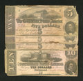 Confederate Notes:1862 Issues, T53 $5 1862 Three Examples. T52 $10 1862.. ... (Total: 4 notes)