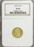 Early Quarter Eagles: , 1825 $2 1/2 XF45 NGC. NGC Census: (2/50). PCGS Population (2/43).Mintage: 4,434. Numismedia Wsl. Price for NGC/PCGS coin i...