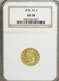 Early Quarter Eagles: , 1830 $2 1/2 AU58 NGC. NGC Census: (22/22). PCGS Population (12/35).Mintage: 4,540. Numismedia Wsl. Price for NGC/PCGS coin...