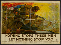 "World War I Propaganda Poster (Emergency Fleet Corp., 1918). Poster (39"" X 53.5"") ""Nothing Stops These Me..."