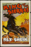"Movie Posters:Western, King of the Sierras (Grand National, 1938). One Sheet (27"" X 41"") Flat-Folded and Lobby Card Set of 8 (11"" X 14""). Western.... (Total: 9 Items)"