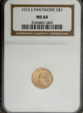 Commemorative Gold, 1915-S G$1 Panama-Pacific Gold Dollar MS64 NGC....