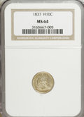 Seated Half Dimes, 1837 H10C No Stars, Large Date (Curved Top 1) MS64 NGC....