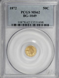 California Fractional Gold: , 1872 50C Indian Round 50 Cents, BG-1049, R.4, MS62 PCGS. PCGSPopulation (15/54). NGC Census: (0/5). (#10878)...