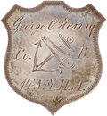 """Military & Patriotic:Civil War, Shield Shaped Silver Civil War 9th Corps/ID Badge, inscribed in script """"George C. Henry/Co. B/14 N. Y. H. A."""" with the ninth..."""
