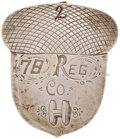 """Military & Patriotic:Civil War, Large, Heavy, Silver Civil War 14th Corps Badge, inscribed """"2 (possibly brigade or division)/ 78 Reg/Co. H"""" highlighted with..."""
