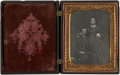 Military & Patriotic:Civil War, Daguerreotype Portrait Dashing Regular Army Lieut and his Wife C. 1856, 1/2 plate. Very nicely posed with the officer seated...