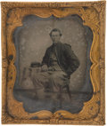 """Military & Patriotic:Civil War, Rare Early War Soft Emulsion 1/6 Plate Ruby Ambrotype Portrait of a Member of the 72d Pennsylvania Infantry, """"Baxter's Fire Zo..."""