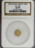 California Fractional Gold: , 1853 50C Liberty Round 50 Cents, BG-428, R.3, AU58 NGC. NGC Census:(6/26). PCGS Population (61/148). (#10464)...