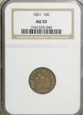 Bust Dimes: , 1821 10C Large Date AU55 NGC. NGC Census: (20/122). PCGS Population(21/83). Mintage: 1,186,512. Numismedia Wsl. Price for ...