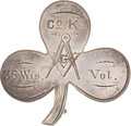 """Military & Patriotic:Civil War, Silver Civil War 2nd Corps Badge with Engraved ID to """"Co. K 36 Wis. Vol.""""..."""