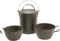 Military & Patriotic:Civil War, Civil War Coffee Boiler and Two Period Tin Cups, one with nice ID.... (Total: 3 Items)