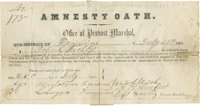 "The Original ""Amnesty Oath,"" Dated July 26, 1865, and Issued at Warrenton, Virginia, to One of the War's Most..."