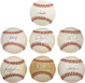Autographs:Baseballs, MLB Stars Single Signed Baseball Group Lot of 7....