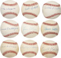 Autographs:Baseballs, Negro League Stars Single Signed Baseballs Lot of 9....