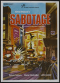 """Movie Posters:Hitchcock, Sabotage (Rank, R-1970s). Indian One Sheet (28.5"""" X 40"""").Hitchcock...."""