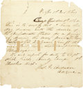 """Military & Patriotic:Civil War, Very Rare Confederate Manuscript Enlistment Form for a Soldier in the 1st Cherokee Regt. 5¾"""" X 6"""", headed, """"H. Qrs 1st Md. B..."""