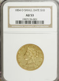 Liberty Eagles: , 1854-O $10 Small Date AU53 NGC. NGC Census: (31/99). PCGSPopulation (18/21). Mintage: 52,500. Numismedia Wsl. Price forNG...