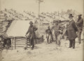 Military & Patriotic:Civil War, Civil War Albumen View of a Large Encampment, Probably 110th PA. Vol., with Several Soldiers...
