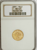 Liberty Quarter Eagles: , 1891 $2 1/2 MS62 NGC. NGC Census: (64/67). PCGS Population (50/61).Mintage: 10,900. Numismedia Wsl. Price for NGC/PCGS coi...