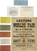 General Historic Events:World Fairs, World's Columbian Exposition: Group Lot of Tickets, Fliers andAdvertisements....