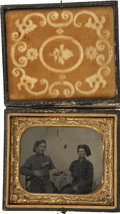 "Military & Patriotic:Civil War, Image of Two ""Zouave"" Card Players. The two soldiers in this horizontal sixth plate tintype have posed for the camera as a p..."