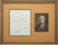 """Autographs:U.S. Presidents, Franklin D. Roosevelt: Typed Letter Signed as President.. -August12, 1940. Washington, D.C. One page. 7"""" x 9"""". White House ..."""