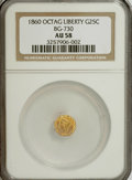 California Fractional Gold: , 1860 25C Liberty Octagonal 25 Cents, BG-730, High R.6, AU58 NGC.NGC Census: (0/2). PCGS Population (2/11). (#10557). F...