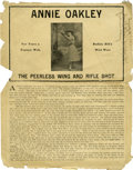 Western Expansion:Cowboy, Annie Oakley Peerless Wing and Rifle Shot Advertising Broadside,circa 1905-1915. ...