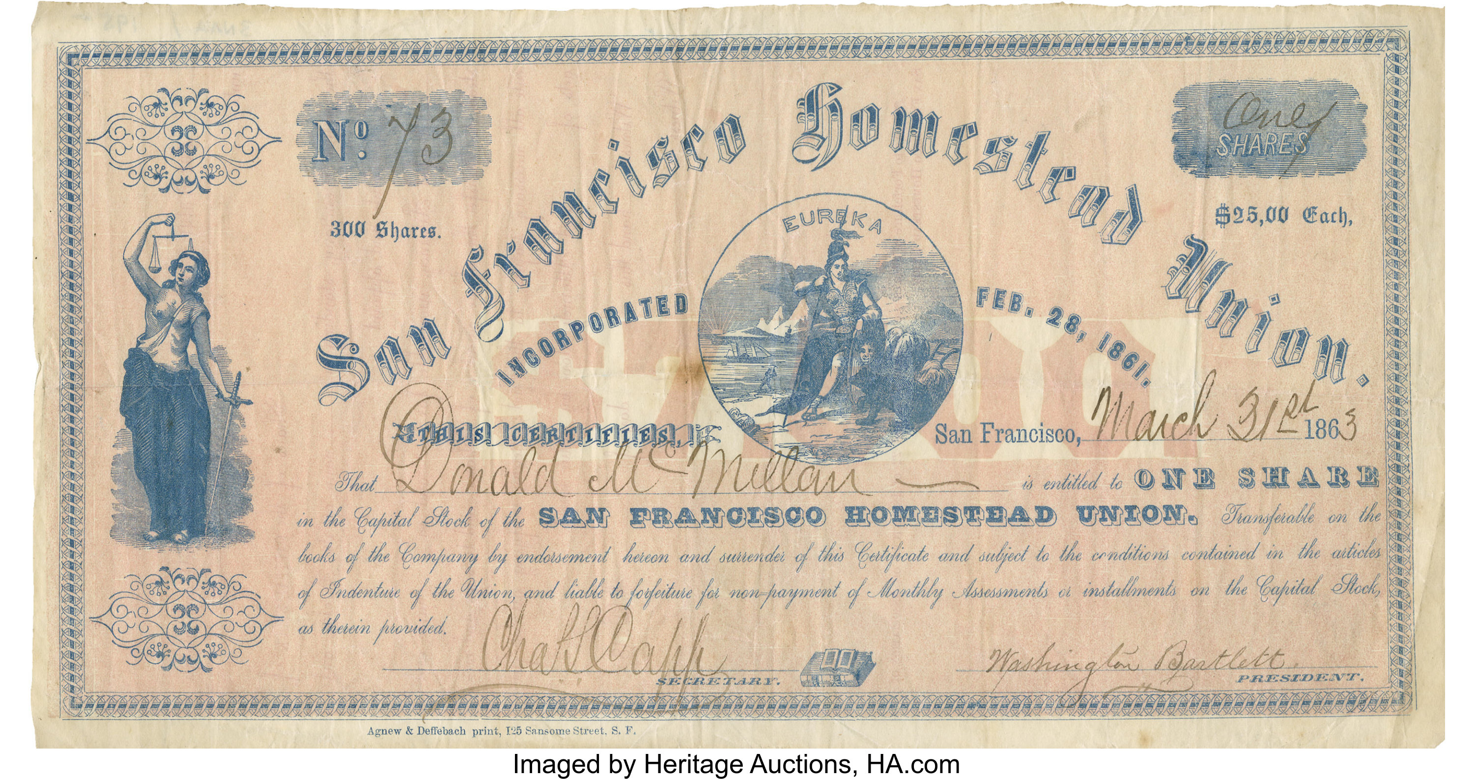 1863 San Francisco Homestead Union Stock Certificate Signed by ...