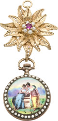 Timepieces:Pendant , Ditisheim Enamel and Pearl Watch with Gold Pin, circa 1915. ...