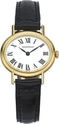 Timepieces:Wristwatch, Jaeger LeCoultre Lady's Gold Wristwatch, circa 1980. ...