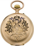 Timepieces:Pocket (pre 1900) , Swiss Gold & Enamel Russian Market Watch, circa 1895. ...
