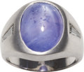 Estate Jewelry:Rings, Gentleman's Star Sapphire, Diamond, White Gold Ring. ...