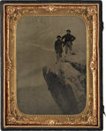 Military & Patriotic:Civil War, Exceptional 1/2 Plate Tintype View of Two Federal Soldiers on the Summit of Lookout Mountain, One of Whom is Identified as...