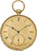 Timepieces:Pocket (pre 1900) , Girard Geneva Gold Duplex Pocket Watch, circa 1850. ...