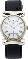 Timepieces:Wristwatch, Longines White Gold Fancy Lug Diamond Dial Wristwatch, circa 1955....