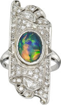 Estate Jewelry:Rings, Art Deco Opal, Diamond, Platinum Ring. ...