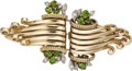Estate Jewelry:Brooches - Pins, Retro Demantoid Garnet, Diamond, Gold Double Clip-Brooch, French. ...