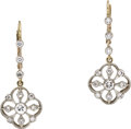Estate Jewelry:Earrings, Diamond, Platinum-Topped Gold Earrings. ... (Total: 2 Items)