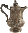 "Military & Patriotic:Civil War, Elegant Repoussé ""Tiffany, Ellis & Young"" Coin Silver Hot Water Pitcher Inscribed in Script on the Side ""Presented to/ Gen. F...."