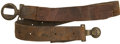 "Military & Patriotic:Civil War, Very Rare Confederate ""Script CS"" Two Piece Interlocking Buckle (Mullinax Plate 002) on the Original Waist Belt. Totally unt... (Total: 2 Items)"