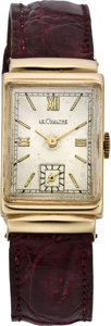Timepieces:Wristwatch, LeCoultre Men's Gold Hooded Lug Wristwatch, circa 1940's. ...