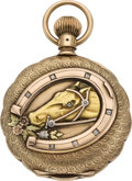 Timepieces:Pocket (pre 1900) , Swiss Multicolor Gold Hunter with Diamonds, circa 1890. ...