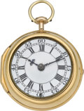 Timepieces:Pocket (pre 1900) , Daniel & Thomas Grignion London Gold Verge Fusee, circa 1750....