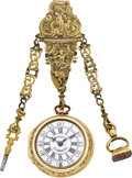 Timepieces:Pocket (pre 1900) , Arlander Dobson London Fine Gold Repousse Pair Cased Verge withChatelaine, circa 1750. ...